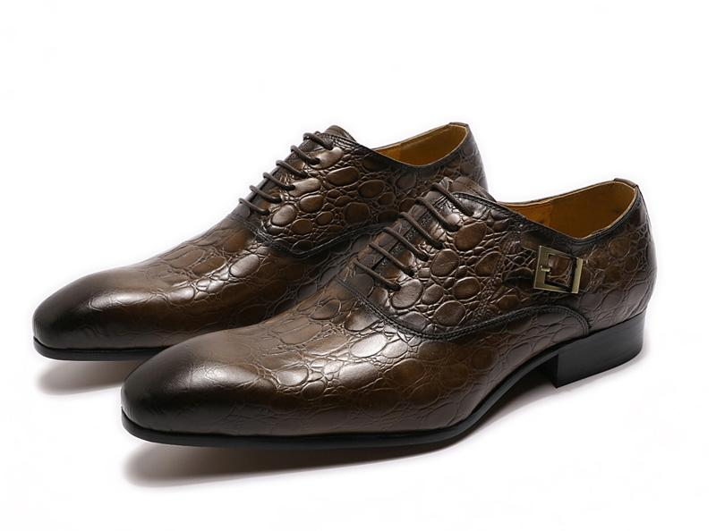 Stylish Men Leather Shoes Crocodile Print Oxfords Mens Business Dress Shoes Lace Up Pointed Toe - SolaceConnect.com