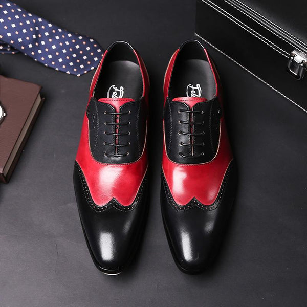 Stylish Mens Formal Oxford Shoes Wingtip Genuine Leather Men's Wedding Party Black Red Pointed Toe - SolaceConnect.com
