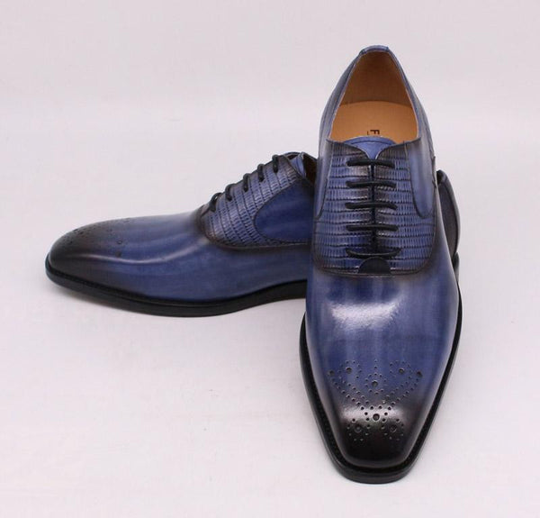 Large Size 13 Men's Genuine Calf Leather Black Handmade Oxford Shoes - SolaceConnect.com