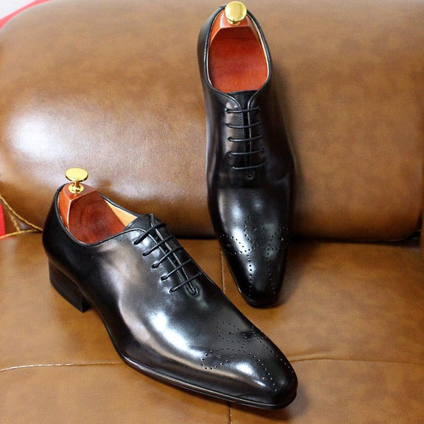 Big Size 7-13 Oxfords Leather Men Shoes Whole Cut Fashion Casual Pointaed Toe Formal Business Male - SolaceConnect.com