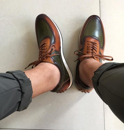 Big Size 15 Mens Style Casual Shoes Genuine Leather Hand Painted Oxford Brown Green Lace-Up - SolaceConnect.com