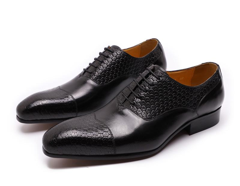 Men Dress Shoes Leather Genuine Handmade Print Lace-Up Pointed Toe Mens Oxfords Work Office Formal - SolaceConnect.com