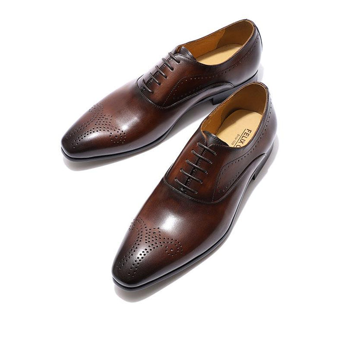 Men's Formal Lace-up Genuine Leather Brown Black Oxford Dress Shoes - SolaceConnect.com