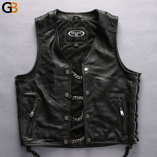 Read Description! Asian Size Men's Motorcycle Rider Leather Male Thick Genuine Cowhide Vest Multiple - SolaceConnect.com