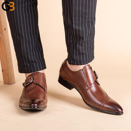 Italian Fashion Men Black Brown Dress Shoes Genuine Leather Slip On Man Formal Suit Footwear With Buckle Business Office Shoes - SolaceConnect.com