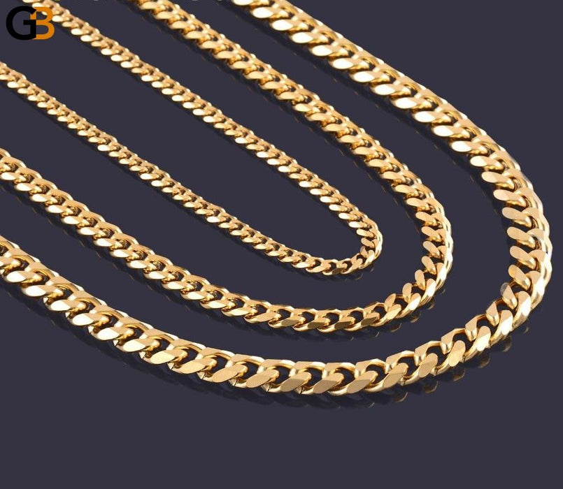 Men's Stainless Steel Gold Filled Chain Necklace in 3.6mm 5mm 7mm Width - SolaceConnect.com