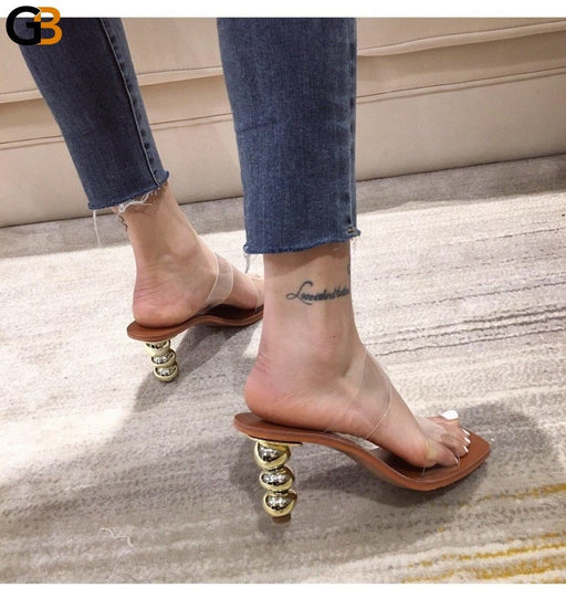 PVC Clear Women Slippers Ball Strange Heel High Heels Beach Slides Open Toe Ladies Shoes Brown - SolaceConnect.com