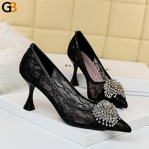 Fall Luxury Women Designer Crystal Low Kitten Heels Pumps Comfortable Lace Air Mesh Flower 7.5 - SolaceConnect.com