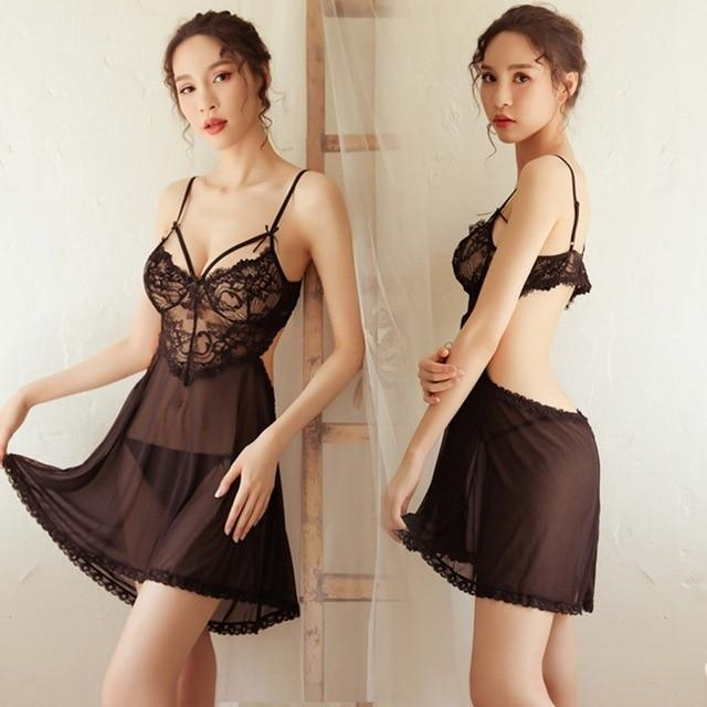 Women's Sexy Hot Erotic Sleepwear Dress Lace Spaghetti Strap Nightgowns - SolaceConnect.com