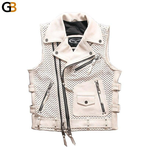 94103 Read Description! Asian Size Super Motor Rider Waistcoat Men's Cow Skin Genuine Cowhide - SolaceConnect.com