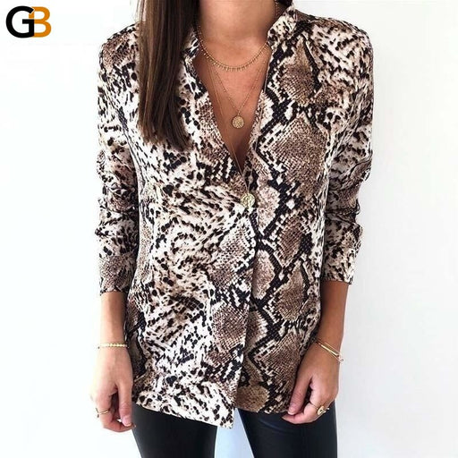 Women's Vintage Long Sleeve V-Neck Snakeskin Animal Pattern Shirts - SolaceConnect.com