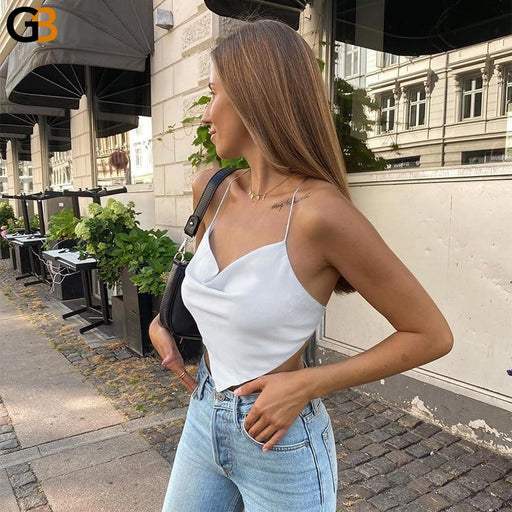Women's Sexy V Neck Sleeveless Backless Strap Crop Tops for Summer - SolaceConnect.com