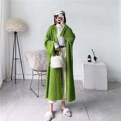 Fashion Women Long mid-calf Sweater Dresses Trench Plus Size Open Stitch Long Sleeve Warm Loose - SolaceConnect.com