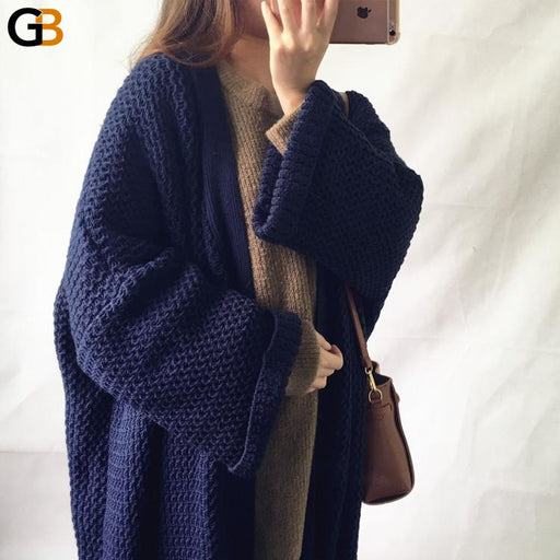 Fashion Women's Long Mid-calf Open Stitch Long Sleeve Sweater Dresses - SolaceConnect.com
