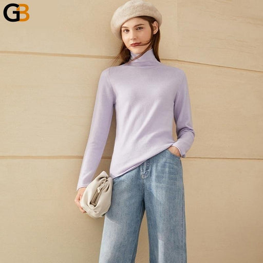 Women's Fashion Solid 100% Wool Turtleneck Sweater for Winter - SolaceConnect.com