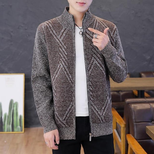 Korean Style Cardigan Men Sweater Clothing Grey Mens Sweater Oversized Knitted Cardigan Pattern Warm - SolaceConnect.com