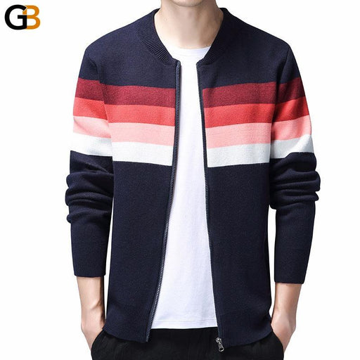 Men's Striped Cotton Zipper Korean Streetwear Cardigan Sweater - SolaceConnect.com