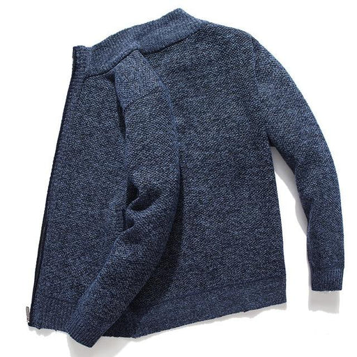 Winter Mens Solid Cardigan Sweater Casual Zipper Knitted Sweater for Man Stand Collar Thick Male - SolaceConnect.com