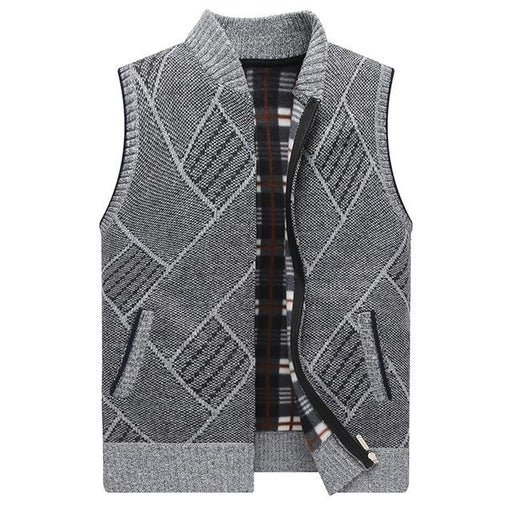 Mens Sweater Vest Geometric Winter Full Cardigan Sweater men Clothes Knitted Sleeveless Fleece Men's - SolaceConnect.com