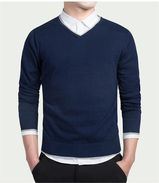 Men Sweater Pullover Male Sweaters Jersey Jumper V-Neck Autumn Winter Basic Knitwear Male - SolaceConnect.com
