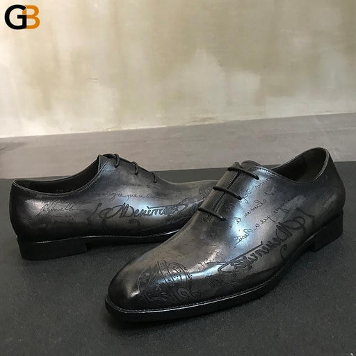 Vintage Handmade Cowhide Real Leather Shoes Men British Round Toe Business Dress Shoes Luxury Lace - SolaceConnect.com