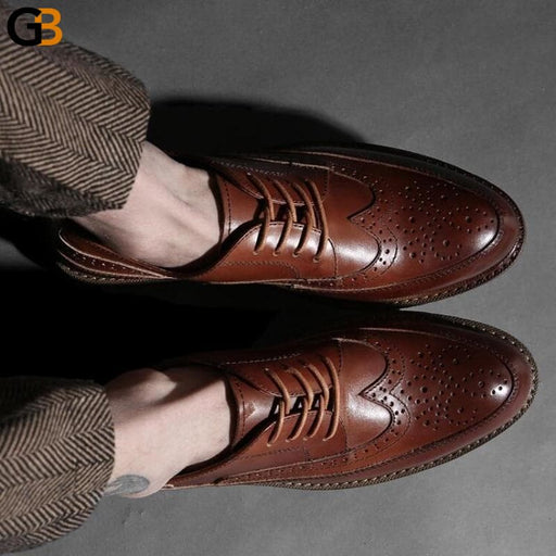 Vintage Mens Wing Tip Brogue Shoes Breathable Cowhide Genuine Leather Business Man Work Shoes - SolaceConnect.com