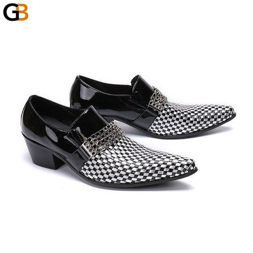 Loafers Men Genuine Leather Dress Shoes Fashion Checkered Business Large Size Pointed Toe Men - SolaceConnect.com