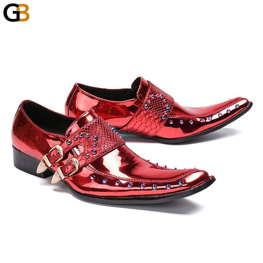 Italy Runway Men Genuine Leather Wedding Dress Shoes Rivet Beading Derby Shoes Buckle Slip On Formal - SolaceConnect.com