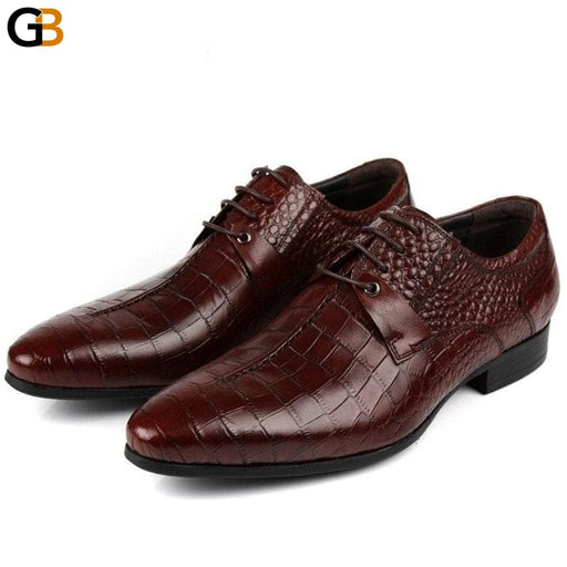Business Genuine Leather Men Shoes Dress Black Brown Italian Fashion Pointed Toe Party Wedding - SolaceConnect.com