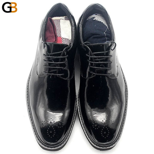 Business Casual Lace Up Derby Shoes Men Carved Brogue Cow Leather Shoes British Height Increasing - SolaceConnect.com