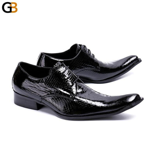 Men's Casual Shoes Luxury Genuine Leather Square Toe Dress Shoes Black Lace Up Fashion Business Work - SolaceConnect.com