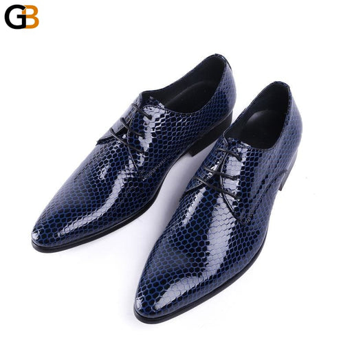 Pointed Toe Prom Shoes Mens Business Dress Shoes Black Blue British Style Patent Leather Wedding - SolaceConnect.com