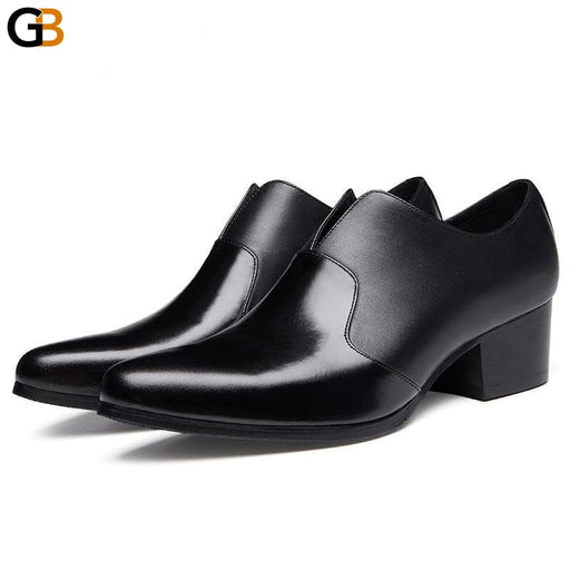 Autumn Black Pointed Toe Leather Shoes Men Business Casual Genuine Leather Slip On Formal Shoes - SolaceConnect.com
