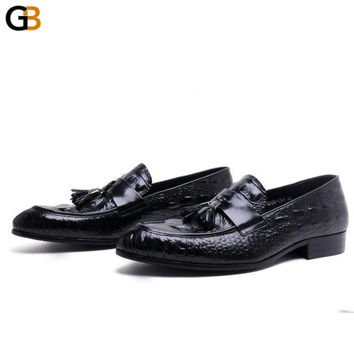 Fashion Black Brown Loafers Prom Shoes Mens Dress Shoes Genuine Leather Male Wedding Formal Shoes - SolaceConnect.com