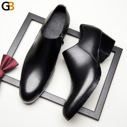 High Heels Leather Shoes Men British Style Round Toe Business Office Shoes Black Zip Genuine Leather - SolaceConnect.com