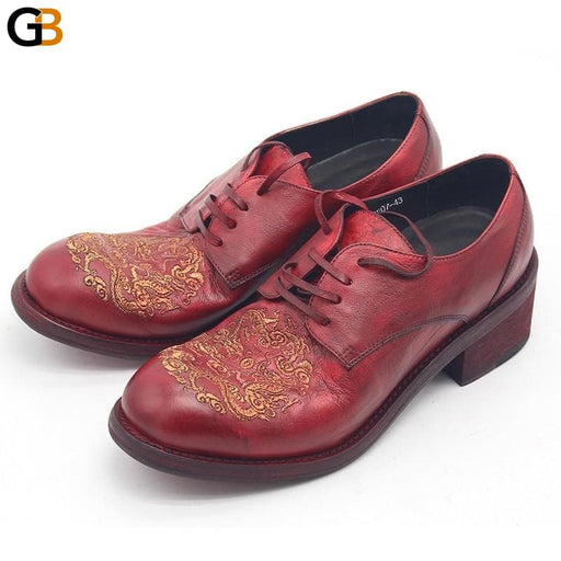 Runway Fashion Genuine Leather Dress Shoes Men Embroidered Quality Cowskin High Heel Business Formal - SolaceConnect.com