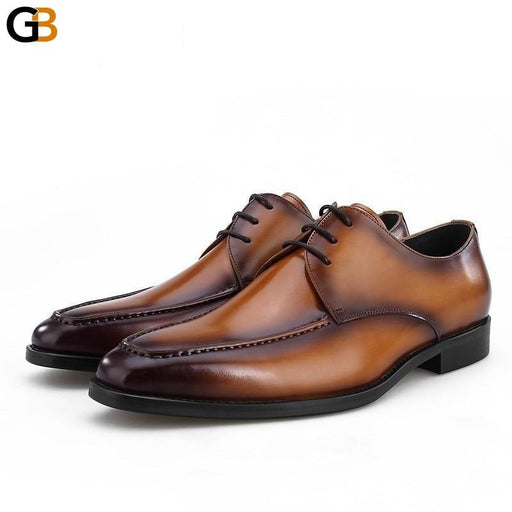 Men Business Formal Shoes Leather Lace Up Breathable Dress Shoes Handmade Classic Male Wedding Footwear Black 38-44 - SolaceConnect.com