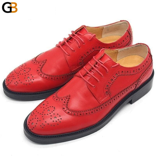 Genuine Leather Shoes Men Luxury Designer Red Embroidery Wedding Footwear Brogue Carved Wingtip - SolaceConnect.com