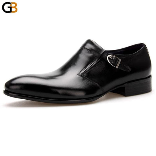 Designer Office Real Leather Derby Shoes Men England Style Pointed Toe Buckle Formal Footwear Casual - SolaceConnect.com