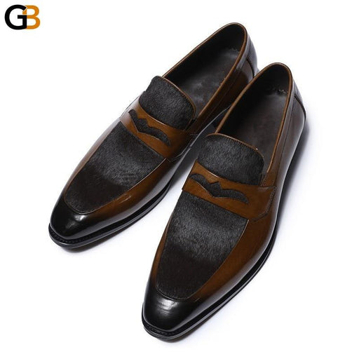 Mens Dress Shoes Business Formal Genuine Leather Shoes Fashion Patchwork Slip On Cowhide Derby Shoes Wedding Shoes Large Size 46 - SolaceConnect.com