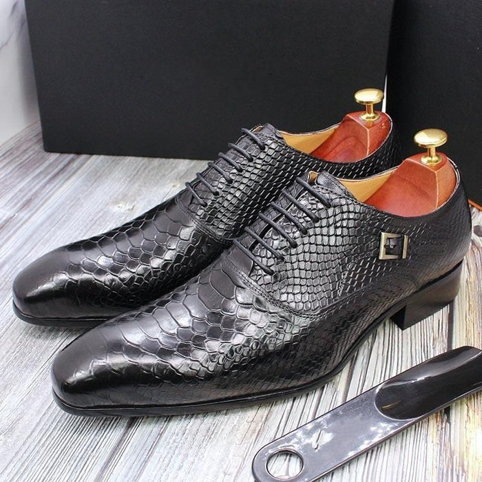 Men's Snake Pattern Genuine Leather Pointed Toe Shoes for Business - SolaceConnect.com
