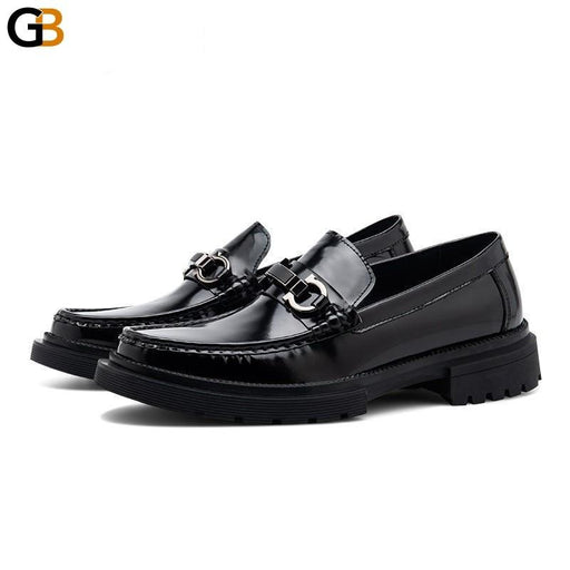 Fashion Mens Genuine Leather Formal Dress Shoes Slip On Loafers Platform Driving Shoes Business - SolaceConnect.com
