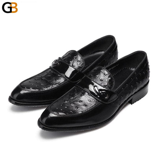British Formal Business Leather Shoes Men Pointed Toe Slip On Cow Leather Dress Loafers Luxury - SolaceConnect.com