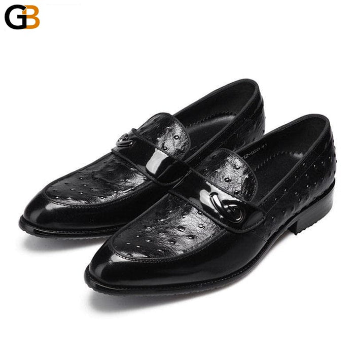 Men's Pointed Toe Slip On Cow Leather Luxury Shoes for Business - SolaceConnect.com