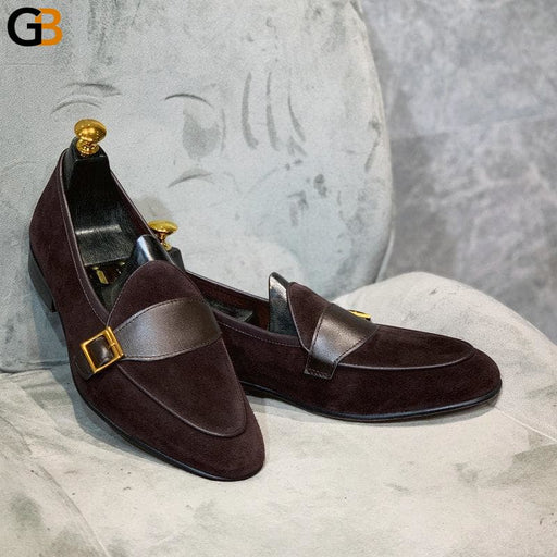 British Style Men Shoes Vintage Luxury Loafers Pointed Toe Business Casual Dress Shoes Buckle - SolaceConnect.com