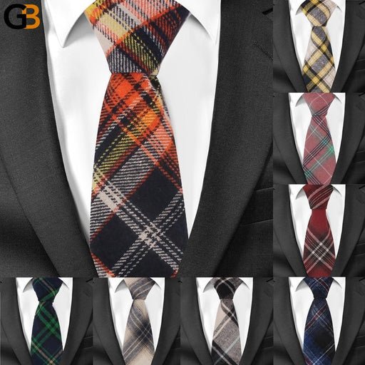 Men's Business Adjustable Plaid Skinny Cotton Slim Neck Tie - SolaceConnect.com