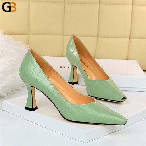 Autumn Elegant Women 8cm Kitten High Heels Pumps Luxury Designer Female Yellow Green Heels Tacones - SolaceConnect.com