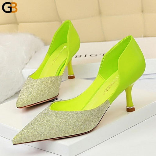 Designer Women Sparkly 6cm Crystal High Heels Pumps Stiletto Glitter Crystal Neon Lime Green Pink - SolaceConnect.com