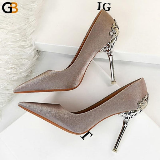 Fall Luxury Women Suede 10cm High Heels Pumps Stiletto Designer Metal Heels Sexy Red Black Sparkly - SolaceConnect.com
