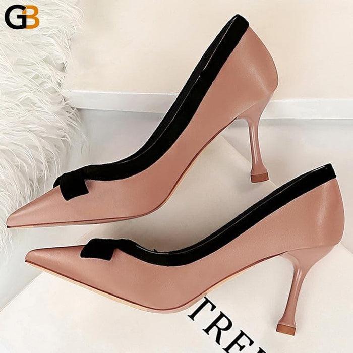 Women's Pink 8cm Butterfly Knotted Silver Stiletto Silk High Heel Pumps - SolaceConnect.com